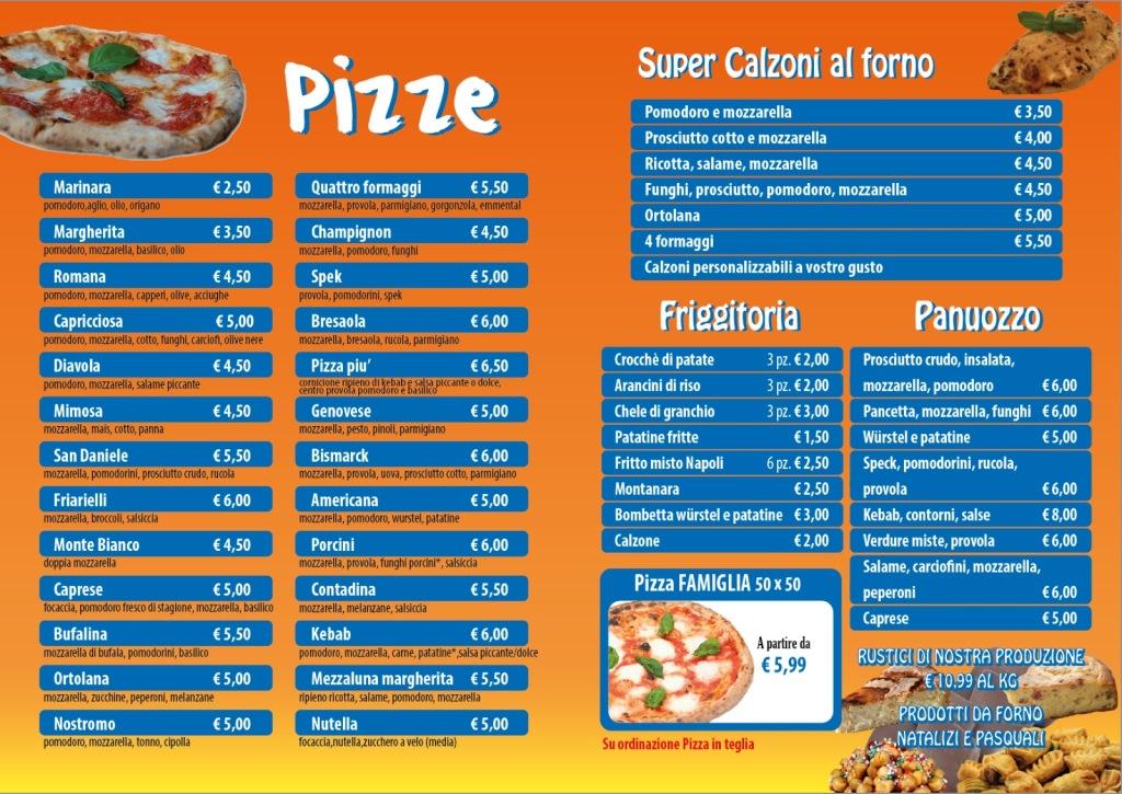 menu pizze friggitoria domicilio benevento